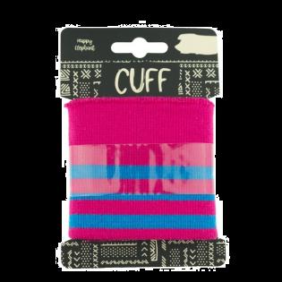 Strickbündchen - Cuff - geringelt - pink-blau