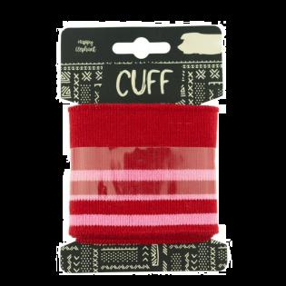 Strickbündchen - Cuff - geringelt - rot-rosa