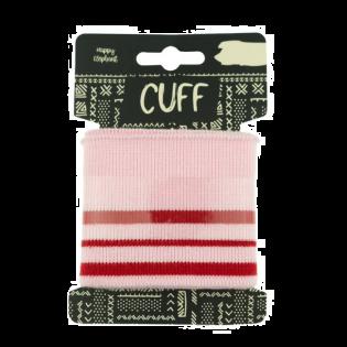Strickbündchen - Cuff - geringelt - rosa-rot