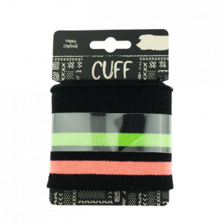 Strickbündchen - Cuff - geringelt - schwarz-neonorange-grün