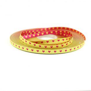 Webband - Herzen - schmal - gelb-pink