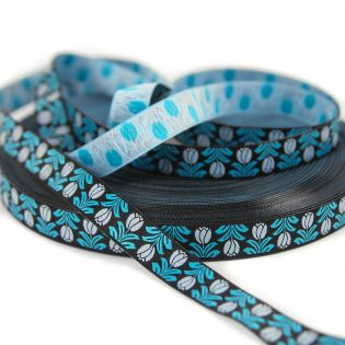Webband - Dala Bloom Tulpen - schwarz-blau