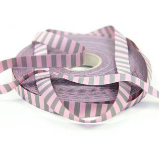 Webband - geringelt - rosa-grau