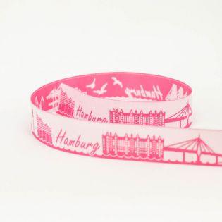 Webband - Skyline Hamburg - neu - pink/weiß