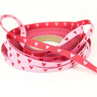Webband - Herz an Herz - rosa/rot