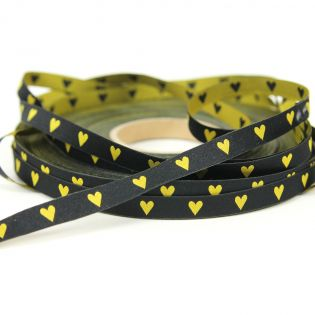 Webband - Herz an Herz - schwarz/gelb