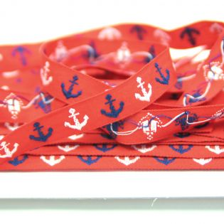 Webband - maritim - Anker - rot-weiss-blau