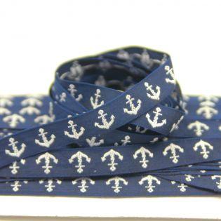 Webband - maritim - Anker - blau-weiss