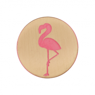 Metallknopf - Öse - Flamingo - 20 mm