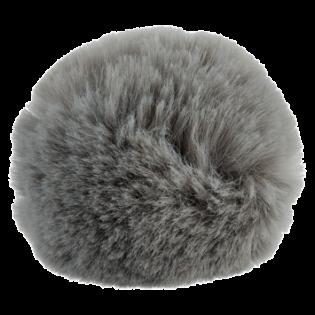 Pompon - Fake Fur - 80 mm - grau
