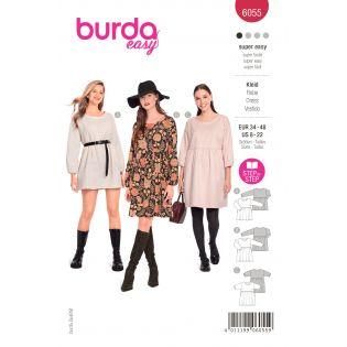 Schnittmuster - burda style - Kleid mit eingerüschter Rockbahn - 6055