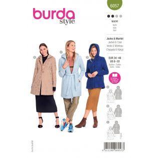 Schnittmuster - burda style - Mantel - Jacke mit Teilungsnähte und Kapuze - 6057