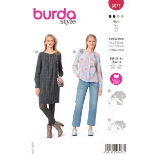 Schnittmuster - burda style - Kleid - Bluse - mit Manschetten - 6077