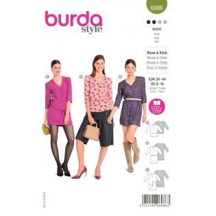 Schnittmuster - burda style - Bluse - Kleid mit V-Ausschnitt - 6086