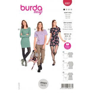 Schnittmuster - burda style - Shirt - Kleid kürpernah mit U-Boot Ausschnitt - 6087
