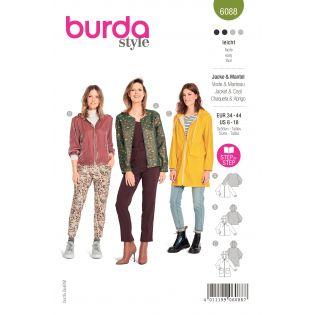 Schnittmuster - burda style - Jacke - Mantel sportiv mit Reißverschluss - 6088