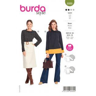 Schnittmuster - burda style - Bluse mit einseitigem Schulterverschluss am Kragen - 6089