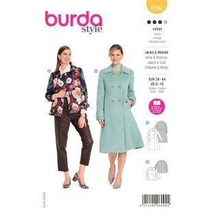 Schnittmuster - burda style - Mantel - Jacke doppelreihig mit großem Kragen - 6092