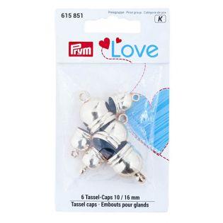 Prym Love Tassel caps 10 + 16 mm silberfarbig