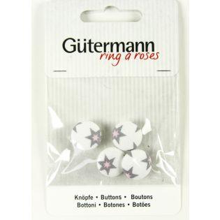 Gütermann - Long Island - Stoffknöpfe - 15 mm - Sterne - weiss