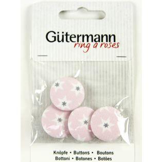 Gütermann - Long Island - Stoffknöpfe - 23 mm - Sterne - rosé