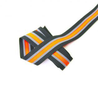 Ripsband - 25 mm - Streifen - orange-grau-schwarz