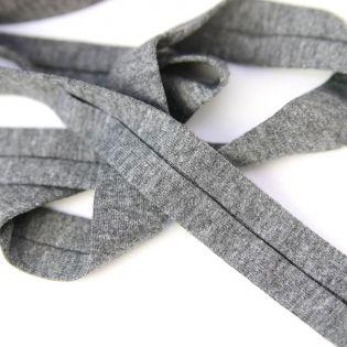 Jerseyschrägband - Baumwolle - uni - 40/20 - grau meliert