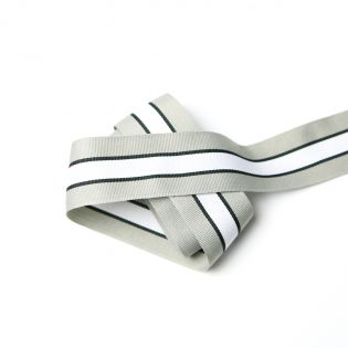 Ripsband - 35 mm - grau-schwarz-weiss