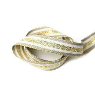 Ripsband - 25 mm -Streifen -  gold-taupe