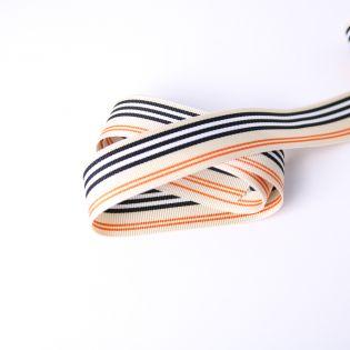 Ripsband - 25 mm - Streifen - beige-orange