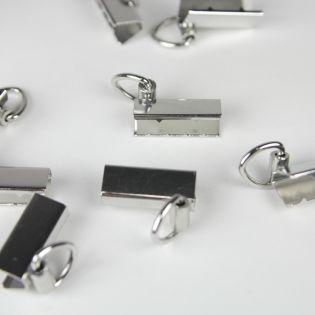 Endklammer mit Öse - 30 mm - silber