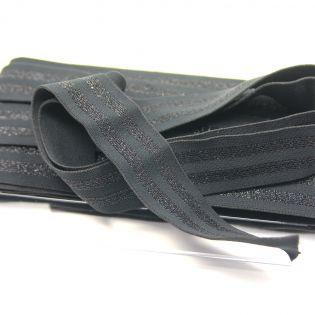Gummiband - 40 mm - geringelt - schwarz