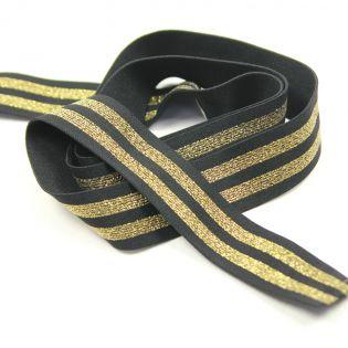 Gummiband - 40 mm - geringelt - schwarz/gold