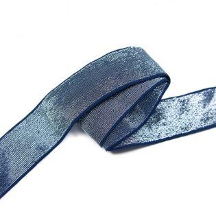 Gummiband - 40mm - silber/navy