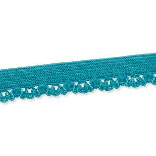 Spitzenborte - elastisch - 10 mm - petrol
