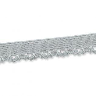 Spitzenborte - elastisch - 10 mm - silbergrau