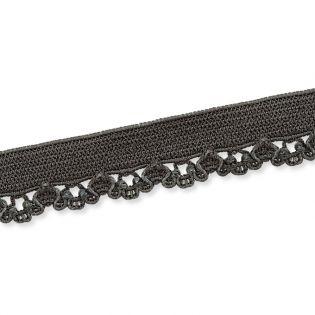 Spitzenborte - elastisch - 10 mm - schiefer
