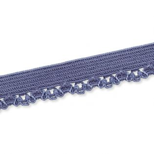Spitzenborte - elastisch - 10 mm - rauchblau