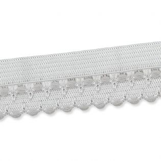Spitzenborte - elastisch - 17 mm - silbergrau