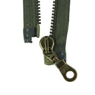 Reißverschluss Opti - M60-antik-gold - 80cm - Moselschieber - teilbar - sumpf