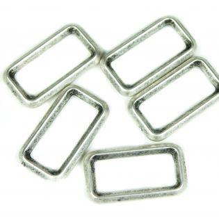 Rechteck-Ring - 40 mm - gebürstetes silber