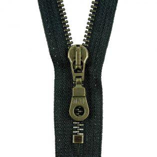 Reißverschluss Opti - M60-antik-gold - 20cm - Moselschieber - nicht teilbar - schwarz