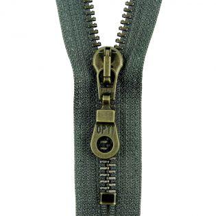 Reißverschluss Opti - M60-antik-gold - 16cm - Moselschieber - nicht teilbar - granit