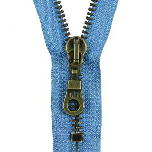 Reißverschluss Opti - M60-antik-gold - 18cm - Moselschieber - nicht teilbar - himmelblau