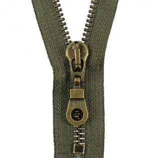 Reißverschluss Opti - M60-antik-gold - 20cm - Moselschieber - nicht teilbar - sumpf