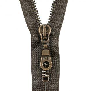 Reißverschluss Opti - M60-antik-gold - 18cm - Moselschieber - nicht teilbar - zartbitterschoko