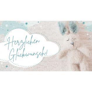 Gutschein - Herzlichen Glückwünsch - babyblau