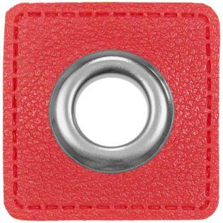 Ösenpatches für Kordeln - Lederimitat - rot