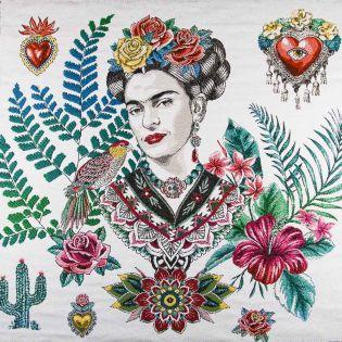 Jacquard Panel - Frida Kahlo - weiß