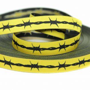 Webband - Stacheldraht - gelb - schwarz